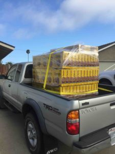 A pick-up truck with $600 worth of Cheerios in the back.